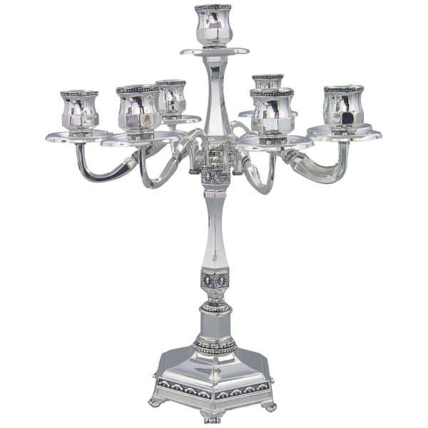 , 7 Branch Shabbat Candlesticks 35cm- Ornate Design (Nickel), Jewish.Shop