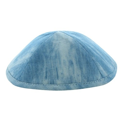 Denim Kippah 19cm- with Pin Spot- Light Blue 1