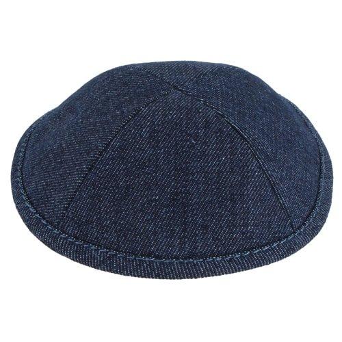 , Denim Kippah with Pin Spot  – Dark Blue, Jewish.Shop