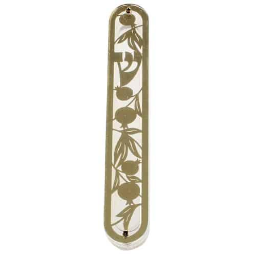 Mezuzah Case - Perspex Mezuzah 12cm- with Gold  Metal Pomegranate Plaque 1