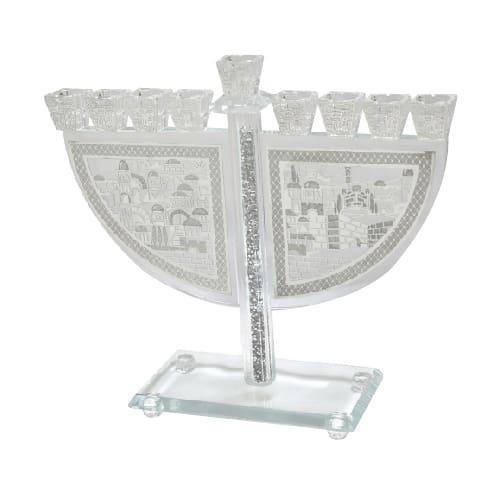 , CRYSTAL MENORAH WITH METAL PLATE – Jerusalem, Jewish.Shop