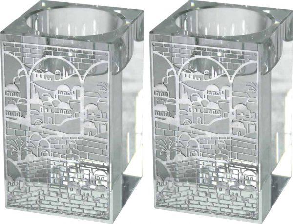 ", Square Crystal Shabbat Candlesticks 8cm -""Jerusalem"", Jewish.Shop"