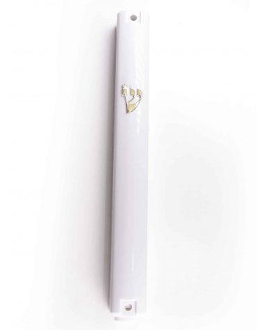 White Plastic Mezuzah Case Gold Shin