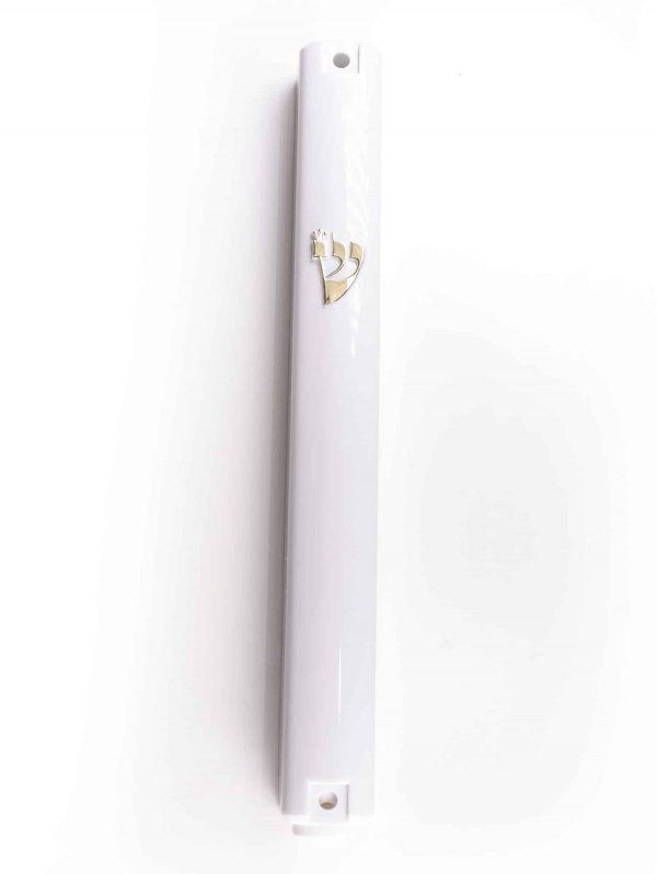 , White Plastic large Mezuzah Case (Gold  Shin) 15cm – with Rubber Cork, Jewish.Shop