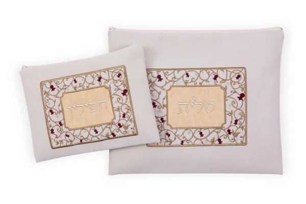 , Cover set for tallit and tefillin Impala – pomegranate frame – off-white / gold, Jewish.Shop