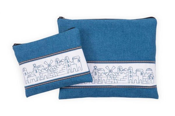 , Tallit & Tefillin Bags -Embroidery of Jerusalem on a blue background, Jewish.Shop