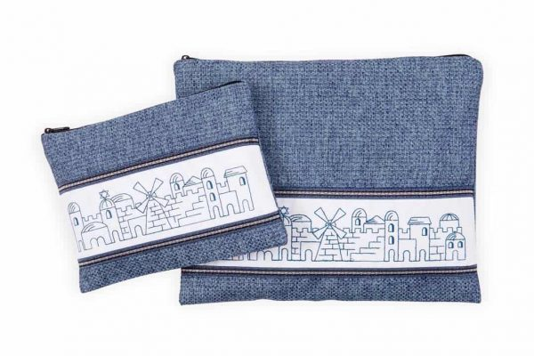 , Tallit & Tefillin Bags -Embroidery of Jerusalem on a blue jeans shade background, Jewish.Shop