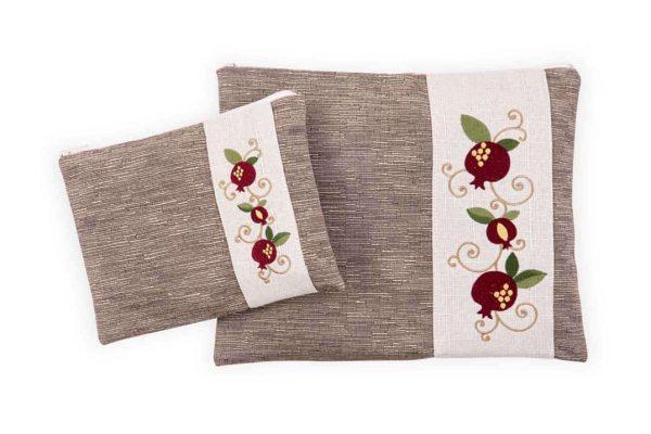 , Tallit & Tefillin Bag – 3 pomegranate on gray background, Jewish.Shop