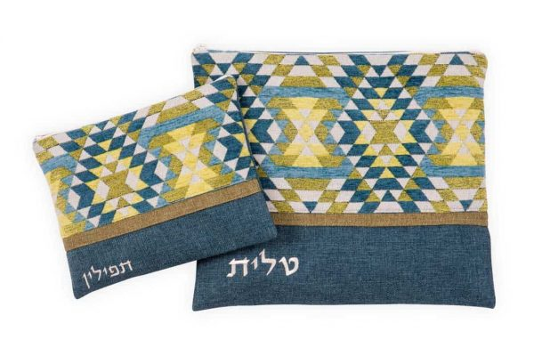 , Tallit & Tefillin Bag – triangles in combined shades of blue and yellow, Jewish.Shop