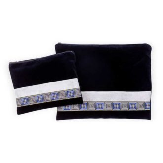talit and tefilin cover blue velvet blue gold squares