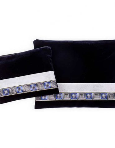talit and tefilin cover blue velvet blue gold squares