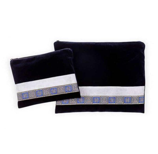 , Tallit and Tefilin Bag – gold squares on Blue Velvet, Jewish.Shop