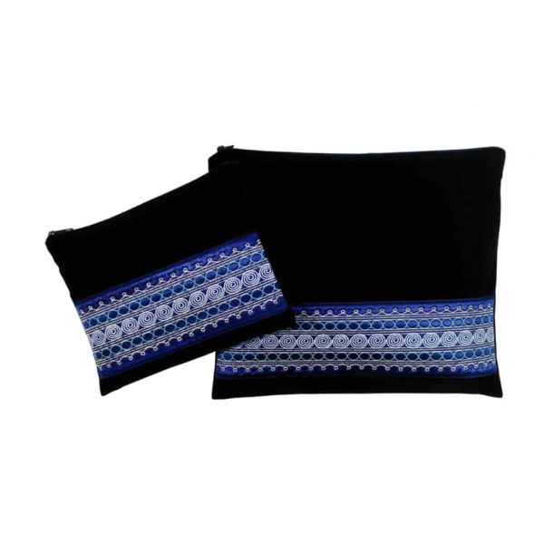 , Tallit & Tefillin Bag – Yemenite Embroidery on Blue Velvet, Jewish.Shop