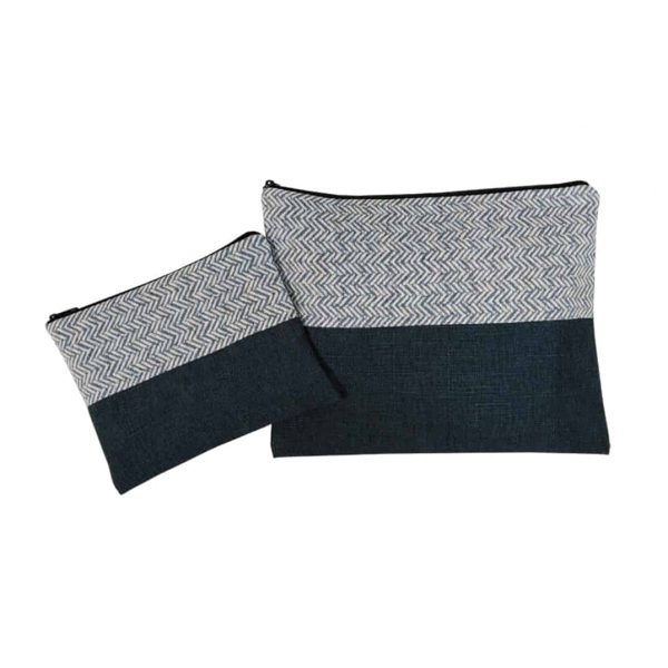 talit and tefilin cover halved blue geometric gray
