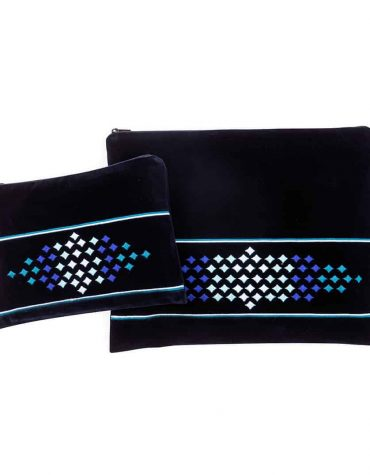 talit and tefillin bag blue velvet blue diamonds
