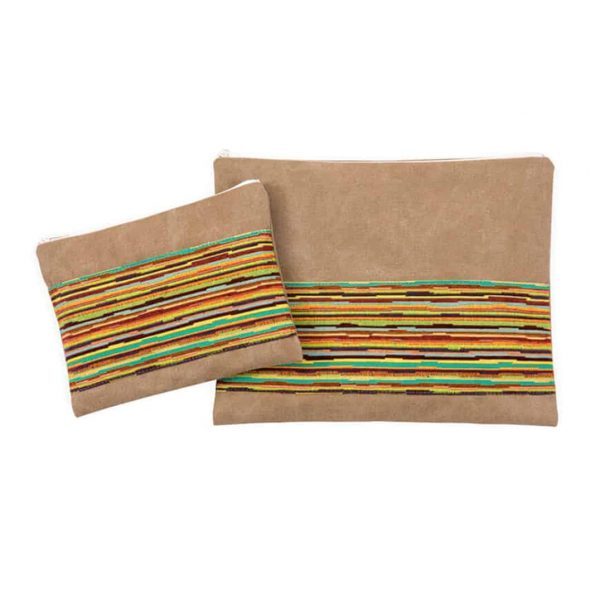 , Tallit & Tefillin Bag – Combined Colorful on Khaki color background, Jewish.Shop