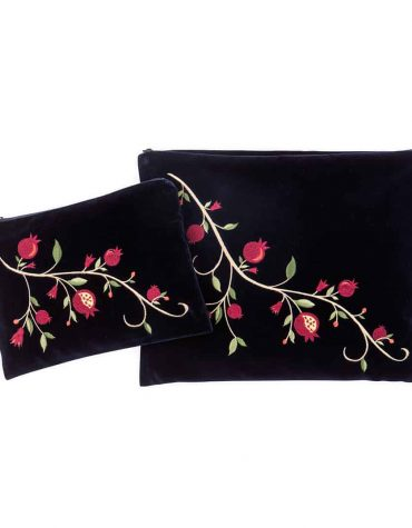 talit tefillin bag blue velvet pomegranate color diagonal