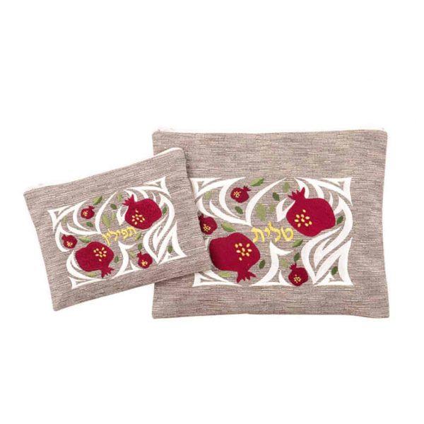 , Talit & Tefillin bag – Gold Pomegranate on off white shade., Jewish.Shop