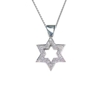 K Gold Star of David Pendant Diamonds