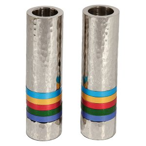Cylinder Candlesticks Hammer Work Rings Multicolor
