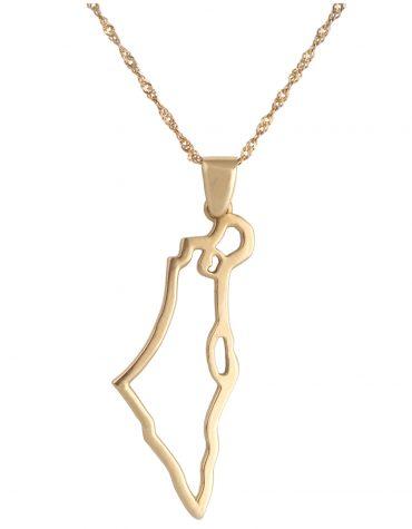 Gold Eretz Israel pendant