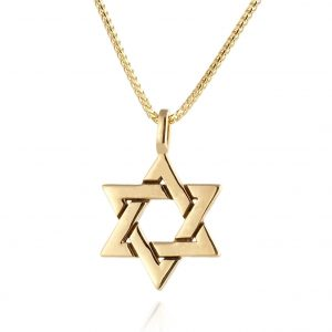 Gold Star of David Pendant