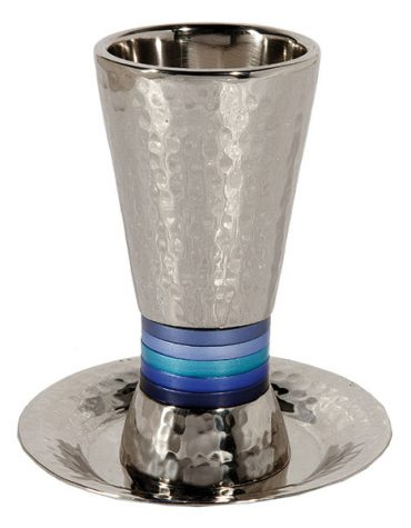 Kiddush Cup Wide Rings Blue