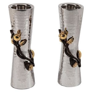 Large Sabbath Candlesticks Pomegranates Stainless Steel