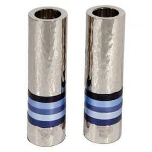 Modern Shabbat Candlesticks Blue