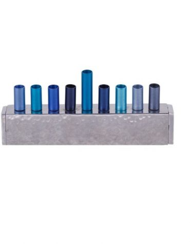 Small Hanukkah Menorah Blue