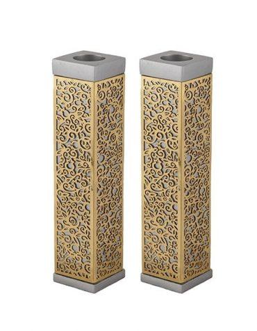 Tall Square Candlesticks Metal Cutout Aluminium Copper