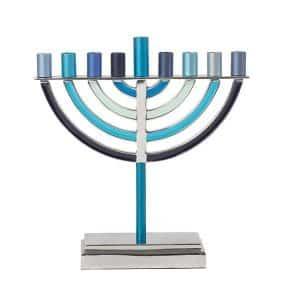 classic hanukkah menorah blue