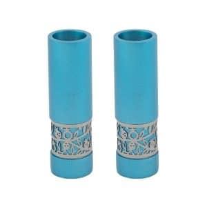 modern candlesticks turquoise shabbat