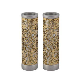 round shabbat candlesticks temple