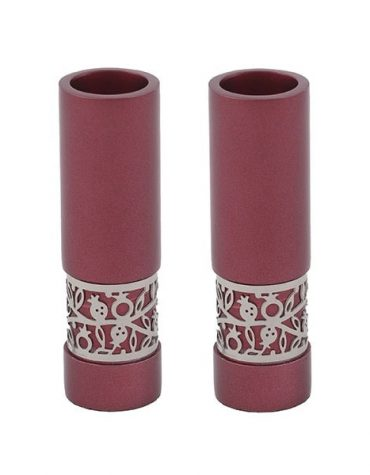 shabbat candlesticks red