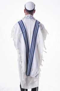 Tallit with Blue Gold Stripes