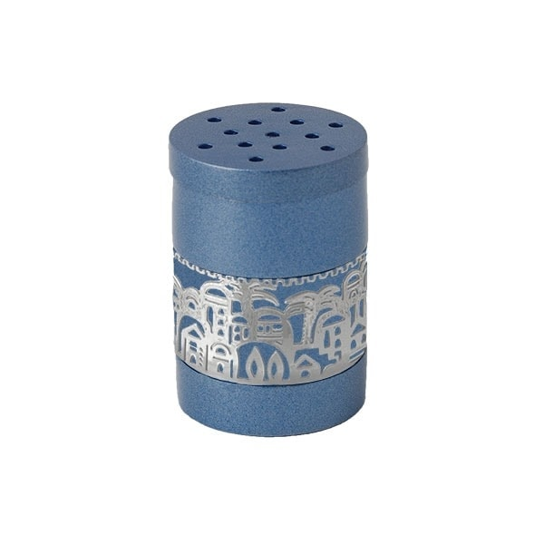 ", Havdalah Besamim – Spice Box –""Jerusalem built"" – blue, Jewish.Shop"
