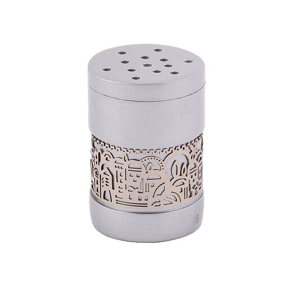 ", Havdalah Besamim – Spice Box –""Jerusalem built"" – Aluminum Matte, Jewish.Shop"