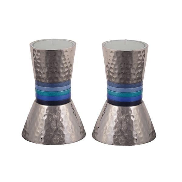 ", Shabbat Candlesticks ""Small Rings"" – Blue, Jewish.Shop"