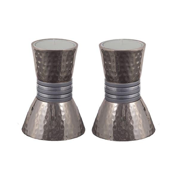 ", Shabbat Candlesticks ""Small Rings"" – Matte Silver, Jewish.Shop"