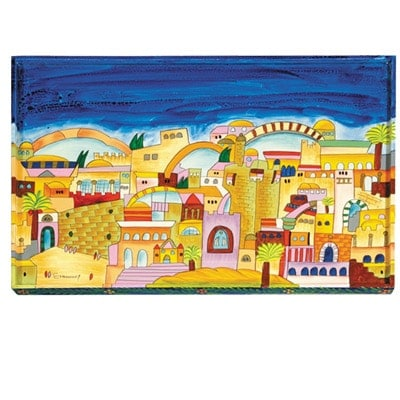 , Challah Board – Painting on a Tree – Jerusalem, Jewish.Shop