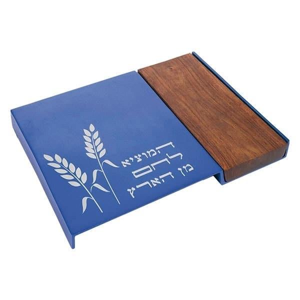 , Shabbat Challah Board – Blue and Aluminum, Jewish.Shop