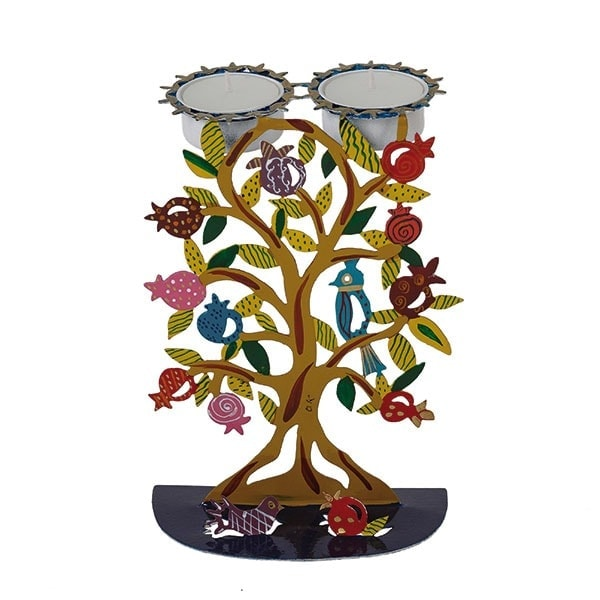 ", Shabbat Candlesticks ""Colorful Metal Stand"" – Tree of Life, Jewish.Shop"