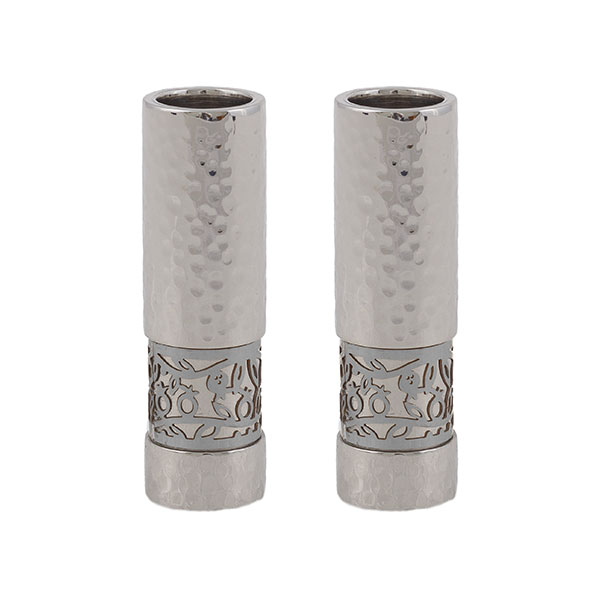 """, Shabbat candles """"straight and decorated"""" – stainless steel and pomegranates, Jewish.Shop"""