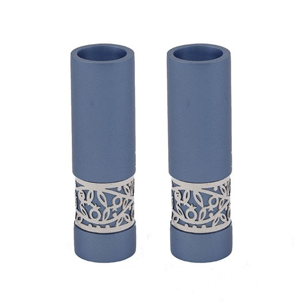 """, Shabbat candles """"straight and decorated"""" – blue and pomegranates, Jewish.Shop"""