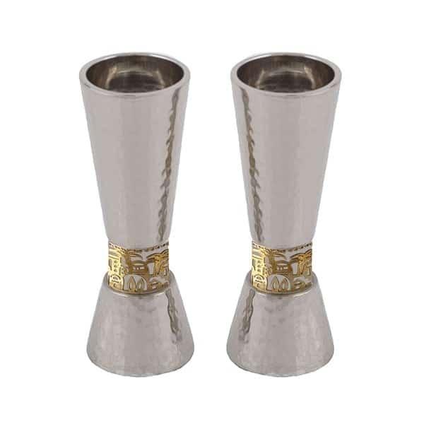 ", Shabbat Candlesticks ""Torch"" – Jerusalem and Hammer, Jewish.Shop"