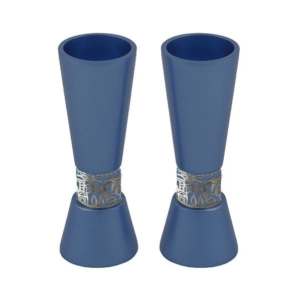 ", Shabbat Candlesticks ""Torch"" – Jerusalem and Blue, Jewish.Shop"