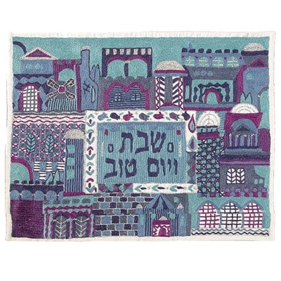 , Hand embroidery cover – full in Jerusalem – blue, Jewish.Shop