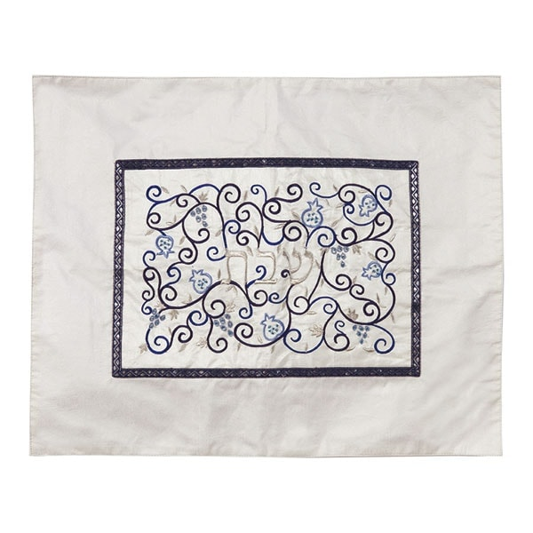 ", Challah Cover ""Shabbat in the center"" – white and blue, Jewish.Shop"