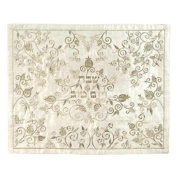 , Challah Cover – Full of Pomegranates (Embroidery) – Silver on White, Jewish.Shop